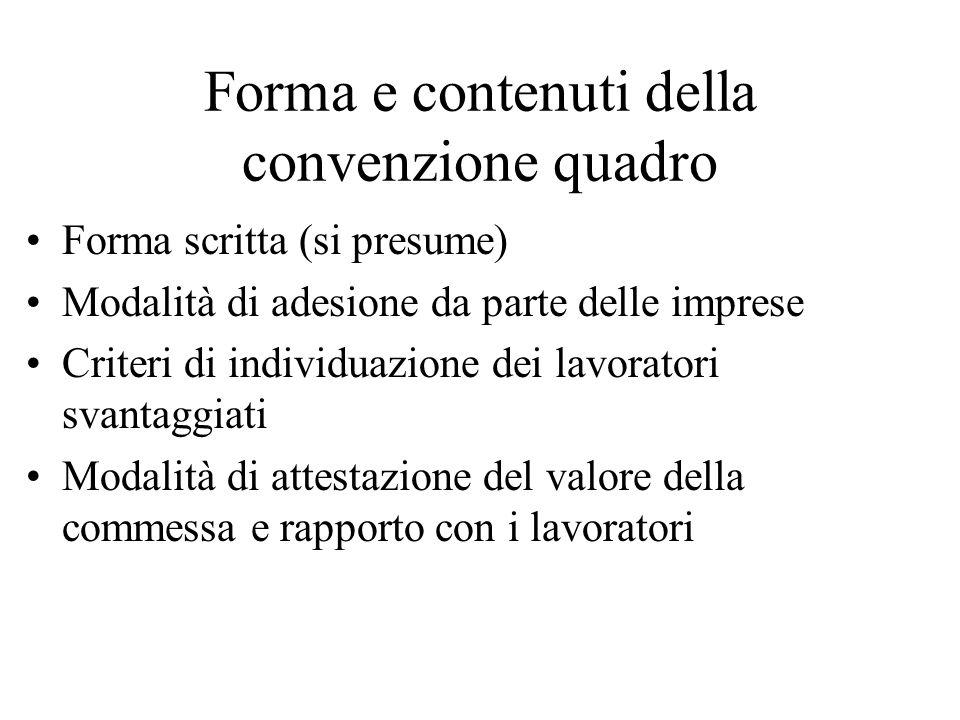 Forma e contenuti della convenzione quadro Forma scritta (si presume) Modalità di adesione da parte delle imprese Criteri di individuazione dei lavoratori svantaggiati Modalità di attestazione del valore della commessa e rapporto con i lavoratori