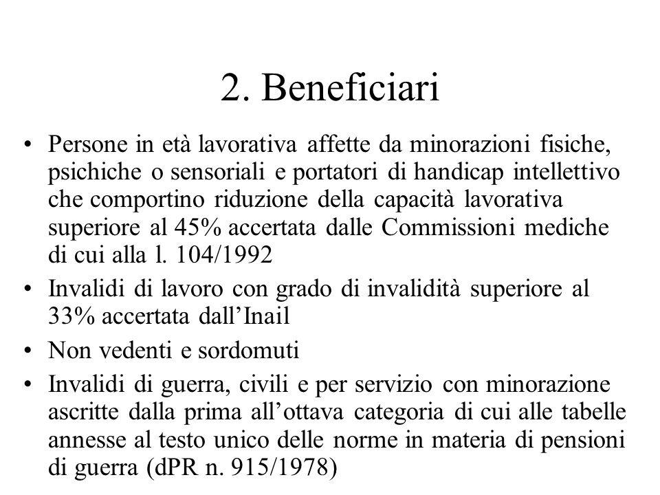 2. Beneficiari Persone in età lavorativa affette da minorazioni fisiche, psichiche o sensoriali e portatori di handicap intellettivo che comportino ri
