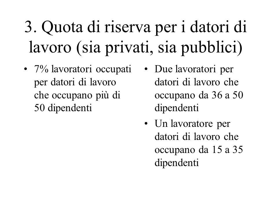 3. Quota di riserva per i datori di lavoro (sia privati, sia pubblici) 7% lavoratori occupati per datori di lavoro che occupano più di 50 dipendenti D