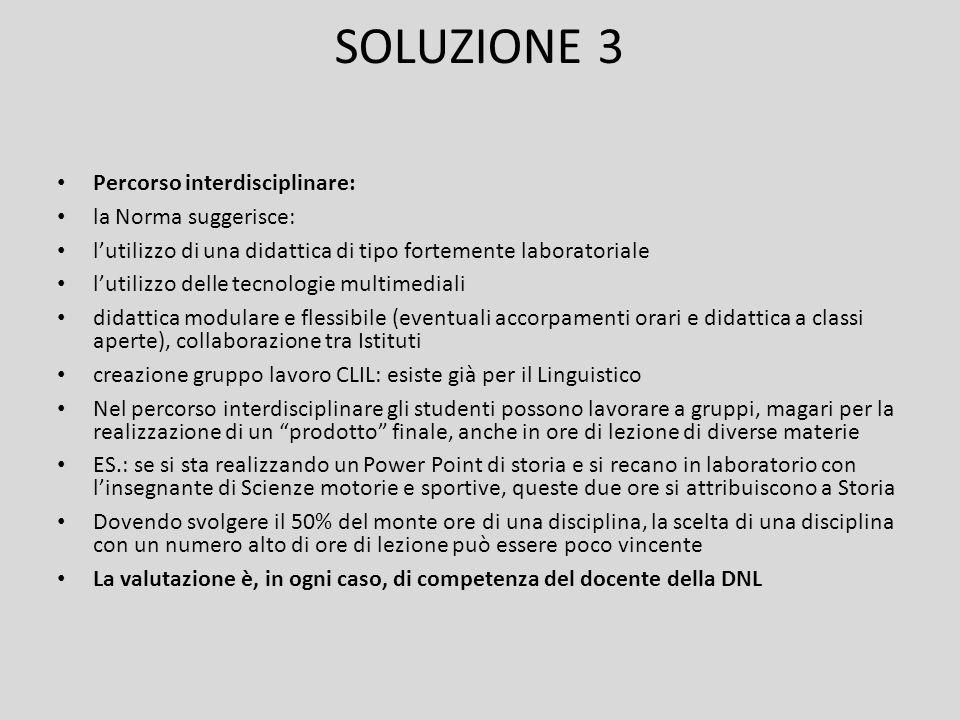 SOLUZIONE 3 Percorso interdisciplinare: la Norma suggerisce: l'utilizzo di una didattica di tipo fortemente laboratoriale l'utilizzo delle tecnologie