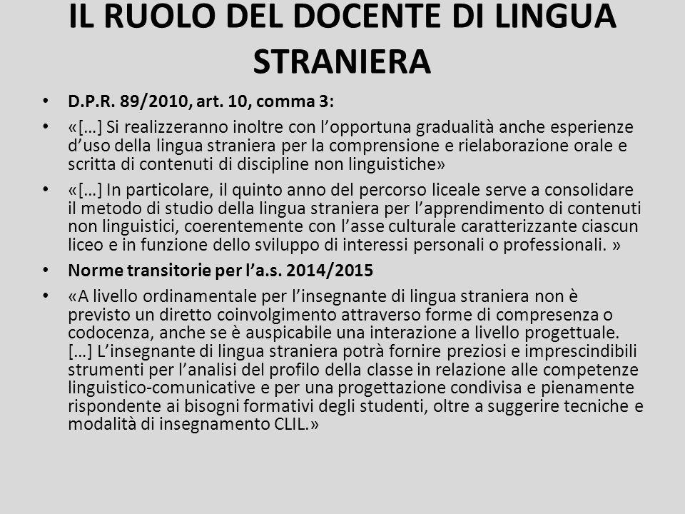 IL RUOLO DEL DOCENTE DI LINGUA STRANIERA D.P.R. 89/2010, art. 10, comma 3: «[…] Si realizzeranno inoltre con l'opportuna gradualità anche esperienze d