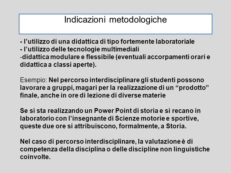 Indicazioni metodologiche - l'utilizzo di una didattica di tipo fortemente laboratoriale - l'utilizzo delle tecnologie multimediali -didattica modular