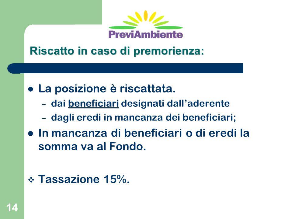 14 La posizione è riscattata. beneficiari – dai beneficiari designati dall'aderente – dagli eredi in mancanza dei beneficiari; In mancanza di benefici