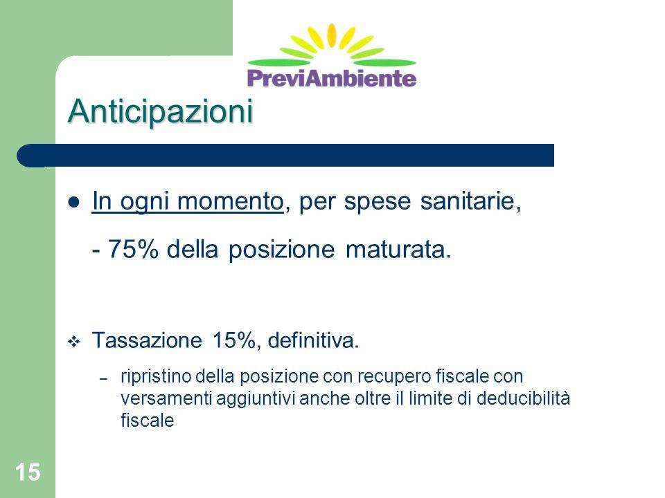 15 Anticipazioni In ogni momento, per spese sanitarie, - 75% della posizione maturata.  Tassazione 15%, definitiva. – ripristino della posizione con