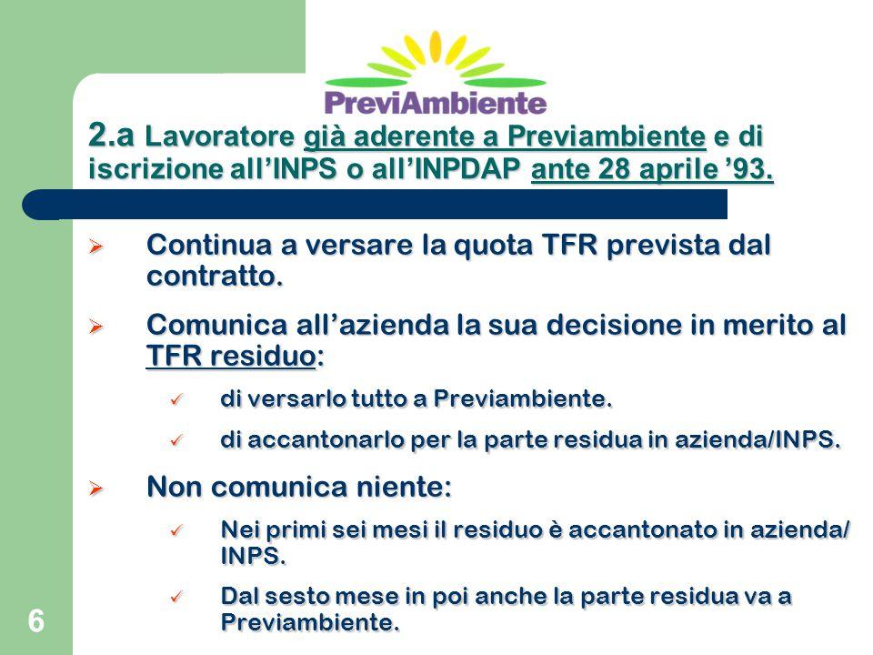 6  Continua a versare la quota TFR prevista dal contratto.  Comunica all'azienda la sua decisione in merito al TFR residuo: di versarlo tutto a Prev