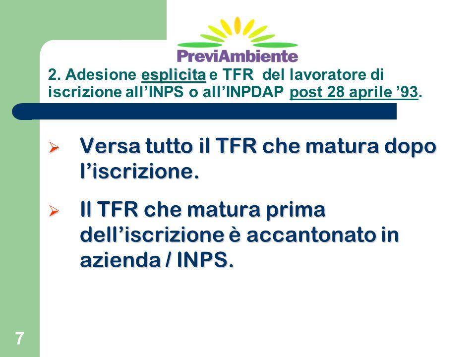 7  Versa tutto il TFR che matura dopo l'iscrizione.  Il TFR che matura prima dell'iscrizione è accantonato in azienda / INPS. esplicita 2. Adesione