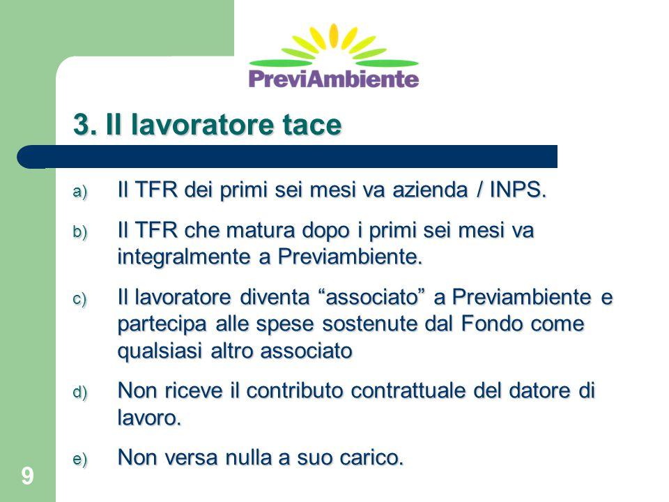 9 3. Il lavoratore tace a) Il TFR dei primi sei mesi va azienda / INPS. b) Il TFR che matura dopo i primi sei mesi va integralmente a Previambiente. c
