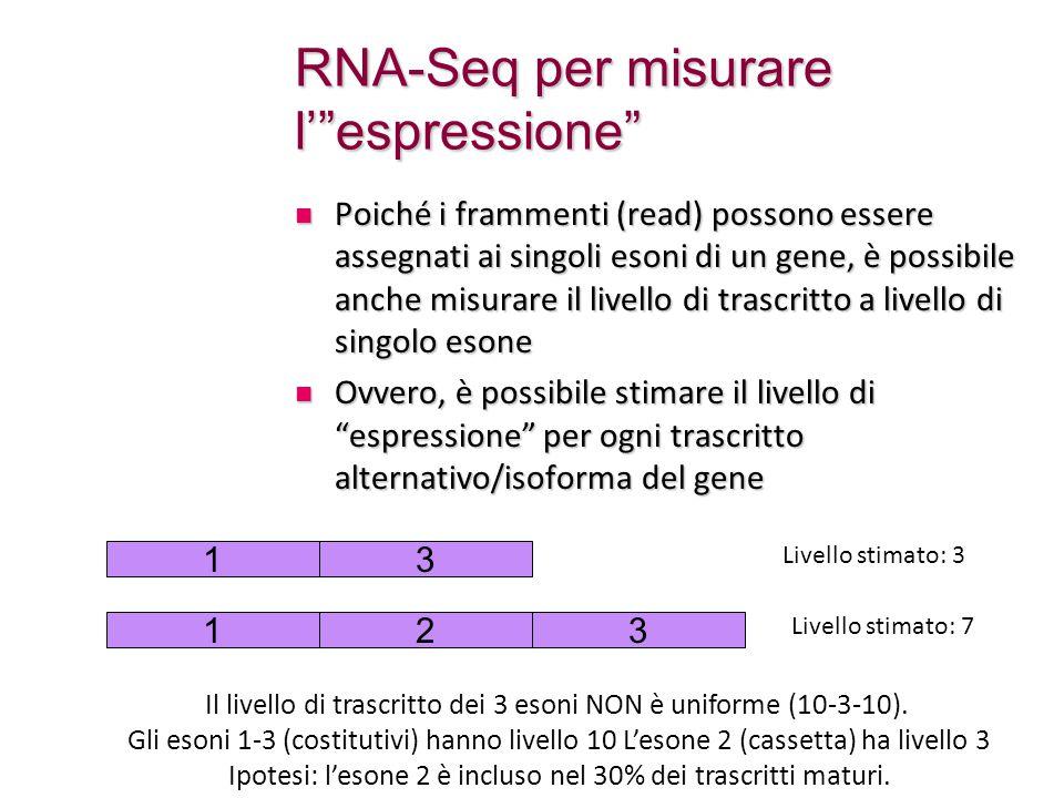 RNA-Seq per misurare l' espressione Poiché i frammenti (read) possono essere assegnati ai singoli esoni di un gene, è possibile anche misurare il livello di trascritto a livello di singolo esone Poiché i frammenti (read) possono essere assegnati ai singoli esoni di un gene, è possibile anche misurare il livello di trascritto a livello di singolo esone Ovvero, è possibile stimare il livello di espressione per ogni trascritto alternativo/isoforma del gene Ovvero, è possibile stimare il livello di espressione per ogni trascritto alternativo/isoforma del gene 13 Il livello di trascritto dei 3 esoni NON è uniforme (10-3-10).