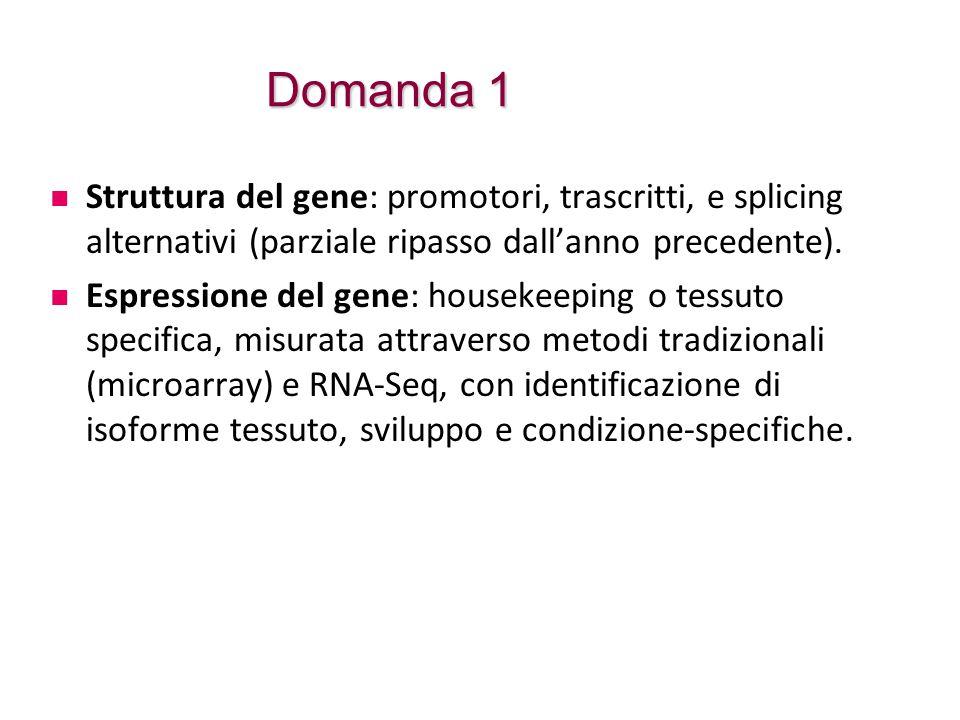 Domanda 1 Struttura del gene: promotori, trascritti, e splicing alternativi (parziale ripasso dall'anno precedente). Espressione del gene: housekeepin