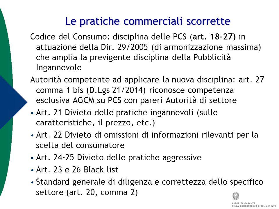 Le pratiche commerciali scorrette Codice del Consumo: disciplina delle PCS (art. 18-27) in attuazione della Dir. 29/2005 (di armonizzazione massima) c