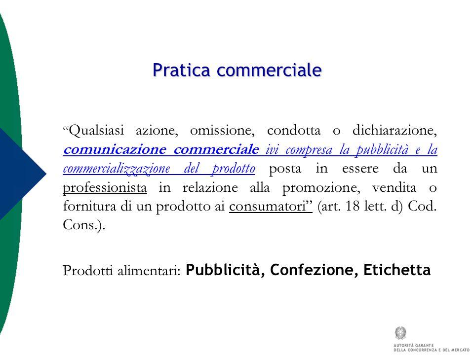 """Pratica commerciale """" Qualsiasi azione, omissione, condotta o dichiarazione, comunicazione commerciale ivi compresa la pubblicità e la commercializzaz"""