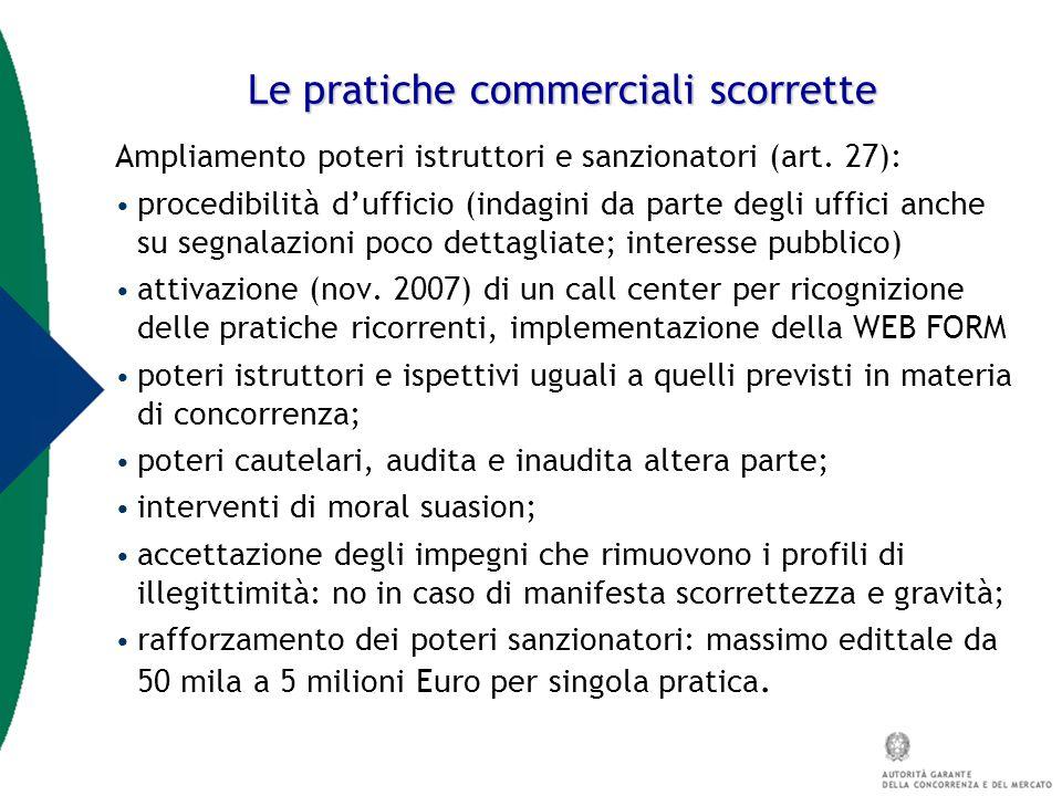 Le pratiche commerciali scorrette Ampliamento poteri istruttori e sanzionatori (art. 27): procedibilità d'ufficio (indagini da parte degli uffici anch