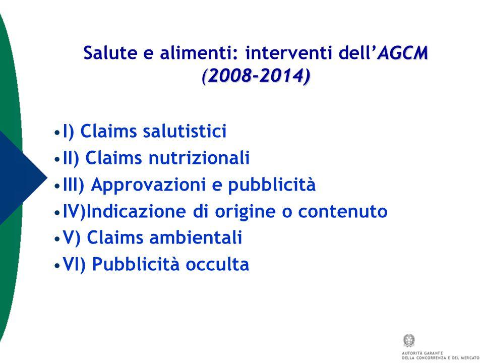I) Claims salutistici II) Claims nutrizionali III) Approvazioni e pubblicità IV)Indicazione di origine o contenuto V) Claims ambientali VI) Pubblicità