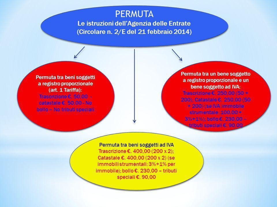PERMUTA Le istruzioni dell'Agenzia delle Entrate (Circolare n. 2/E del 21 febbraio 2014) PERMUTA Le istruzioni dell'Agenzia delle Entrate (Circolare n
