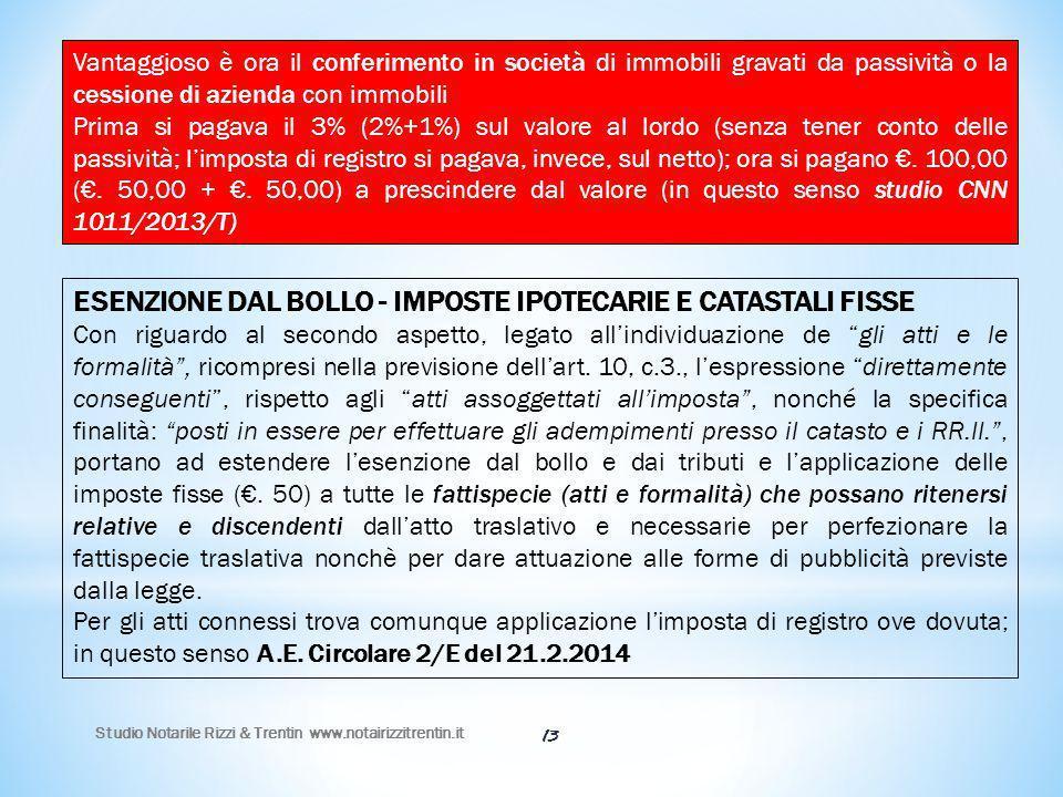 Studio Notarile Rizzi & Trentin www.notairizzitrentin.it 13 Vantaggioso è ora il conferimento in società di immobili gravati da passività o la cession