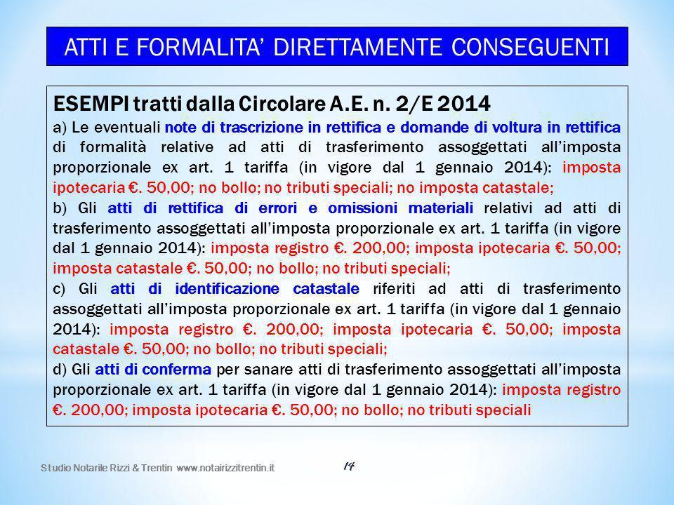 Studio Notarile Rizzi & Trentin www.notairizzitrentin.it 14 ESEMPI tratti dalla Circolare A.E. n. 2/E 2014 a) Le eventuali note di trascrizione in ret