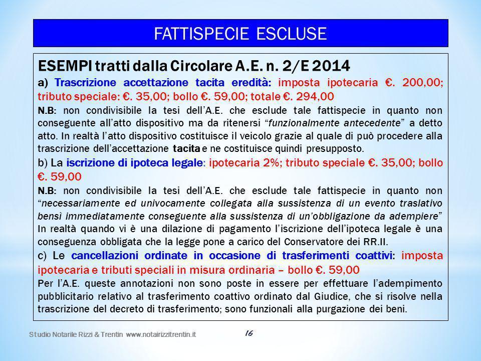 Studio Notarile Rizzi & Trentin www.notairizzitrentin.it 16 ESEMPI tratti dalla Circolare A.E. n. 2/E 2014 a) Trascrizione accettazione tacita eredità