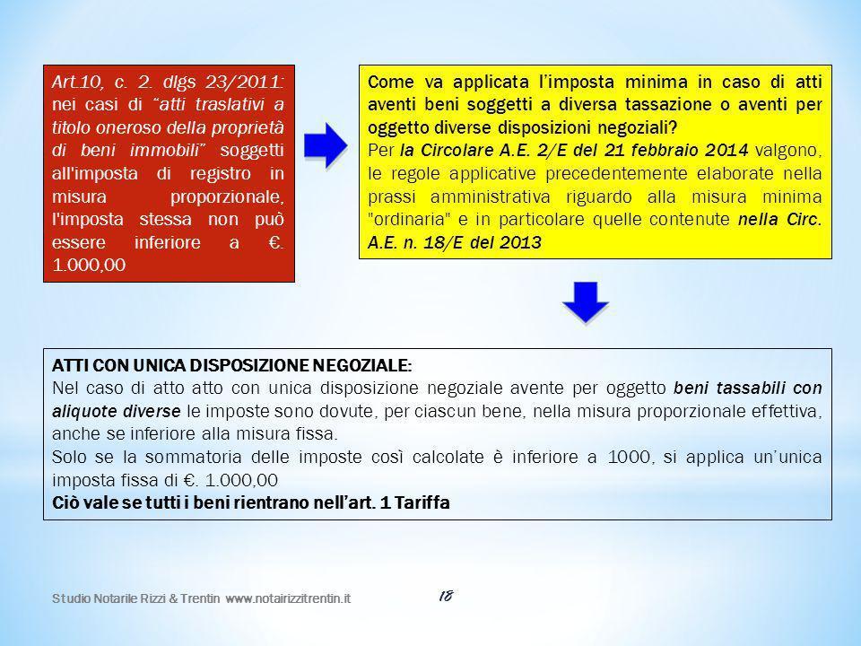 """18 Art.10, c. 2. dlgs 23/2011: nei casi di """"atti traslativi a titolo oneroso della proprietà di beni immobili"""" soggetti all'imposta di registro in mis"""