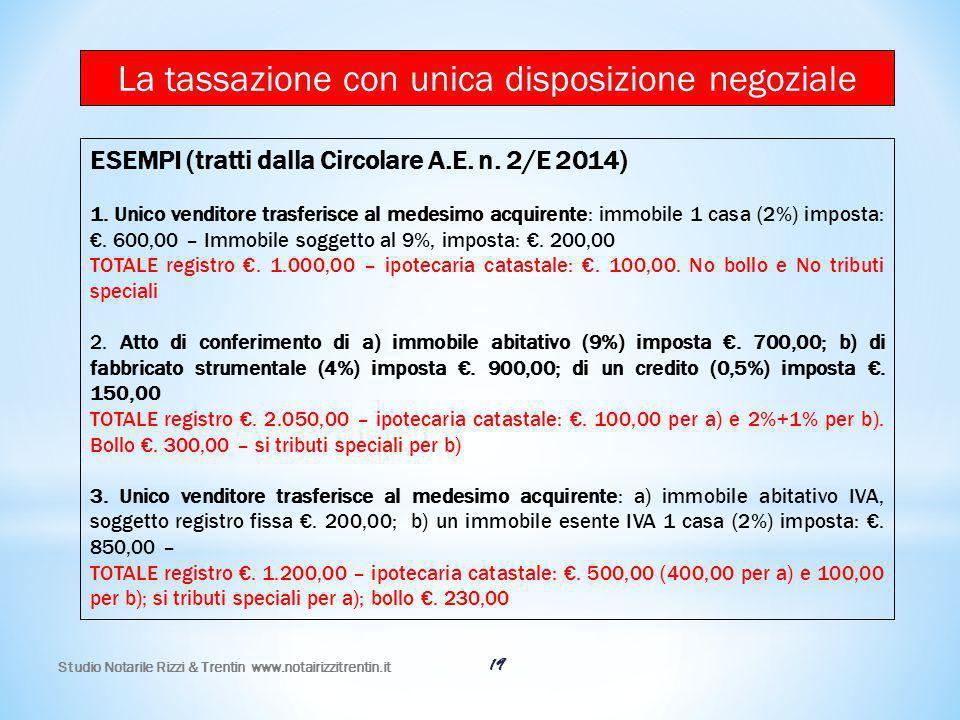 Studio Notarile Rizzi & Trentin www.notairizzitrentin.it 19 ESEMPI (tratti dalla Circolare A.E. n. 2/E 2014) 1. Unico venditore trasferisce al medesim