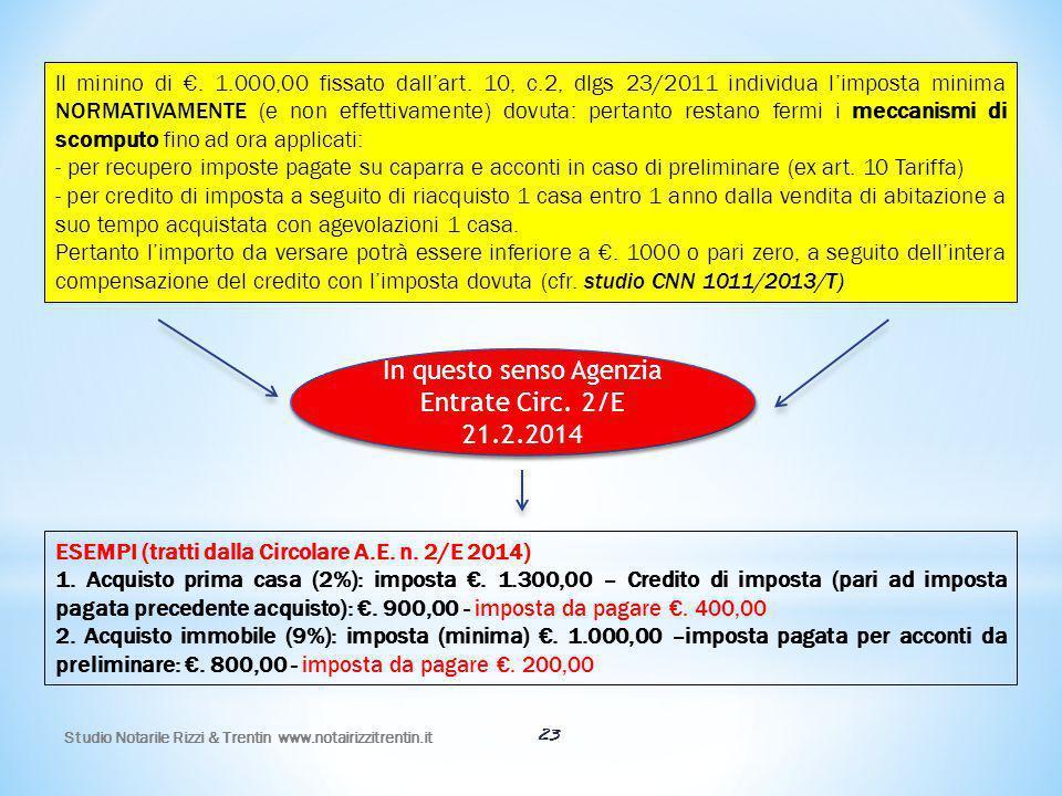 Studio Notarile Rizzi & Trentin www.notairizzitrentin.it 23 Il minino di €. 1.000,00 fissato dall'art. 10, c.2, dlgs 23/2011 individua l'imposta minim