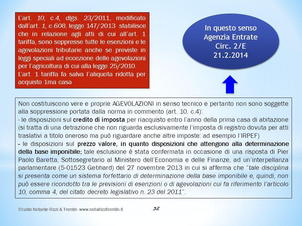32 L'art. 10, c.4, dlgs. 23/2011, modificato dall'art. 1, c.608, legge 147/2013 stabilisce che in relazione agli atti di cui all'art. 1 tariffa, sono