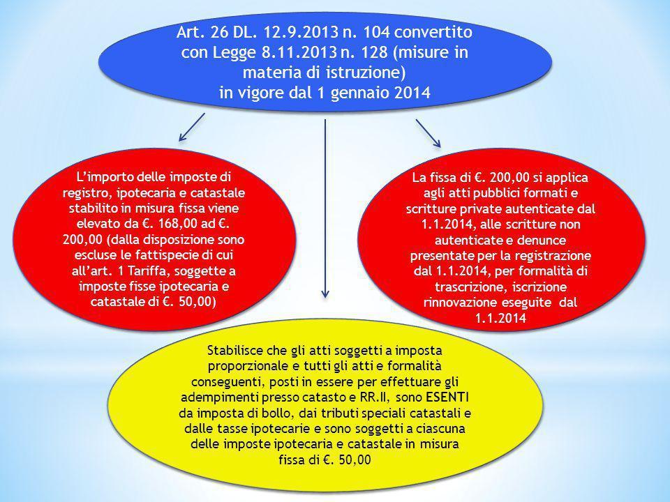 Art. 26 DL. 12.9.2013 n. 104 convertito con Legge 8.11.2013 n. 128 (misure in materia di istruzione) in vigore dal 1 gennaio 2014 Art. 26 DL. 12.9.201