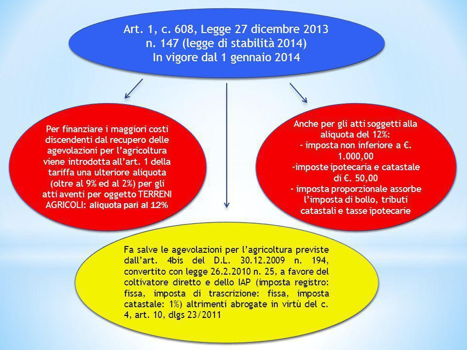 Art. 1, c. 608, Legge 27 dicembre 2013 n. 147 (legge di stabilità 2014) In vigore dal 1 gennaio 2014 Art. 1, c. 608, Legge 27 dicembre 2013 n. 147 (le