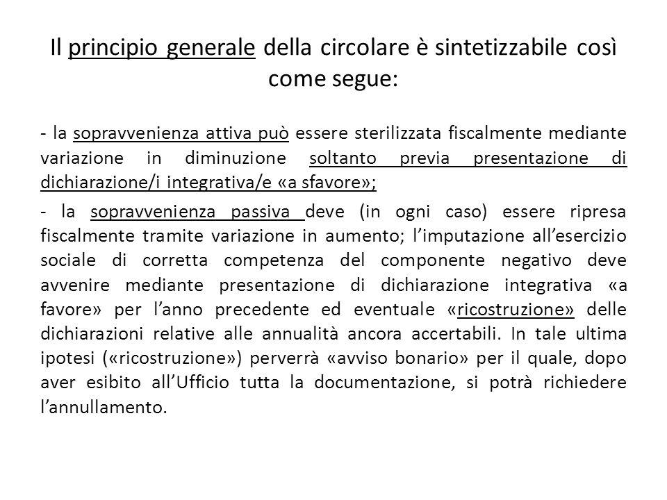 Il principio generale della circolare è sintetizzabile così come segue: - la sopravvenienza attiva può essere sterilizzata fiscalmente mediante variaz