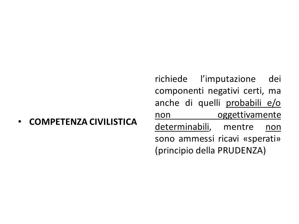 COMPETENZA CIVILISTICA richiede l'imputazione dei componenti negativi certi, ma anche di quelli probabili e/o non oggettivamente determinabili, mentre non sono ammessi ricavi «sperati» (principio della PRUDENZA)