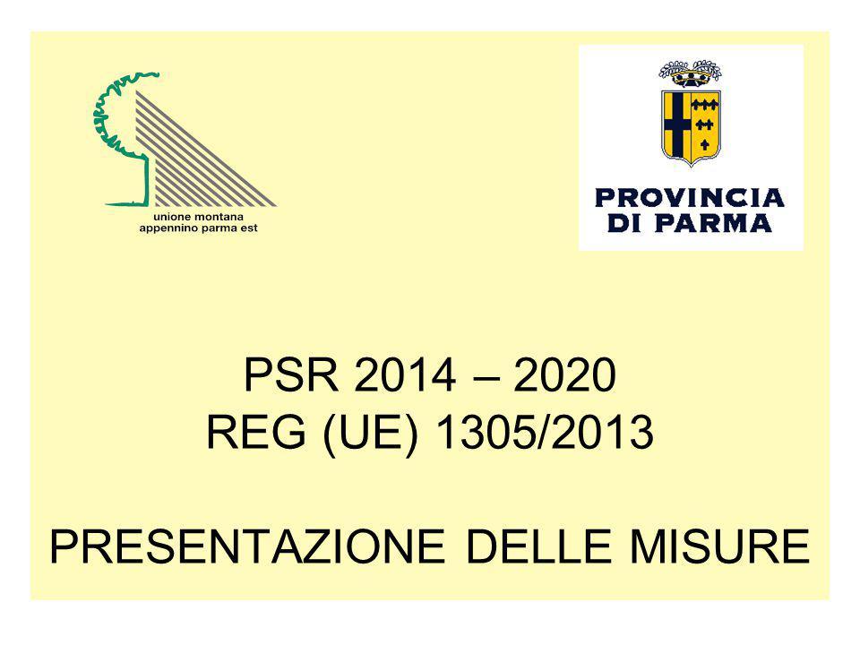 PSR 2014 – 2020 REG (UE) 1305/2013 PRESENTAZIONE DELLE MISURE