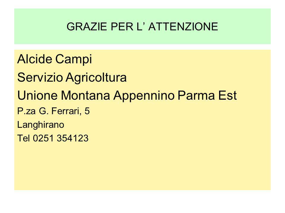GRAZIE PER L' ATTENZIONE Alcide Campi Servizio Agricoltura Unione Montana Appennino Parma Est P.za G. Ferrari, 5 Langhirano Tel 0251 354123