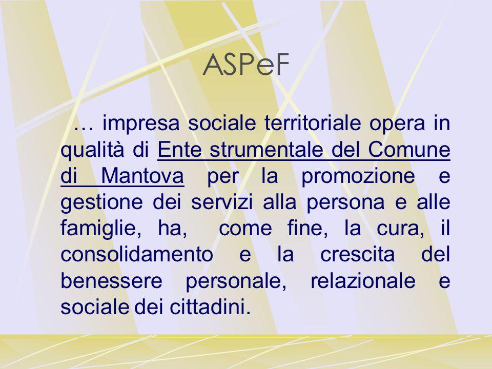ASPeF … impresa sociale territoriale opera in qualità di Ente strumentale del Comune di Mantova per la promozione e gestione dei servizi alla persona e alle famiglie, ha, come fine, la cura, il consolidamento e la crescita del benessere personale, relazionale e sociale dei cittadini.
