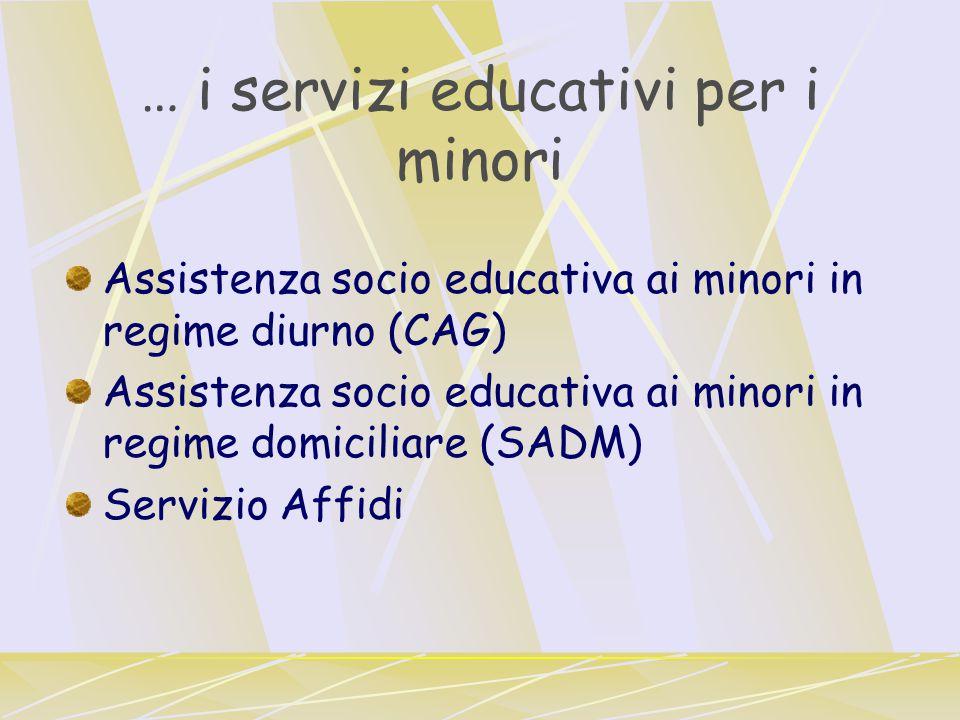 … i servizi educativi per i minori Assistenza socio educativa ai minori in regime diurno (CAG) Assistenza socio educativa ai minori in regime domiciliare (SADM) Servizio Affidi