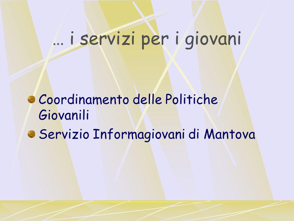 … i servizi per i giovani Coordinamento delle Politiche Giovanili Servizio Informagiovani di Mantova