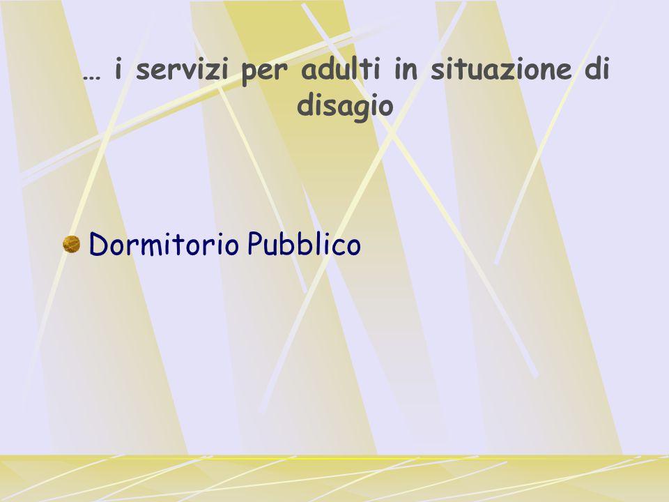 … i servizi per adulti in situazione di disagio Dormitorio Pubblico