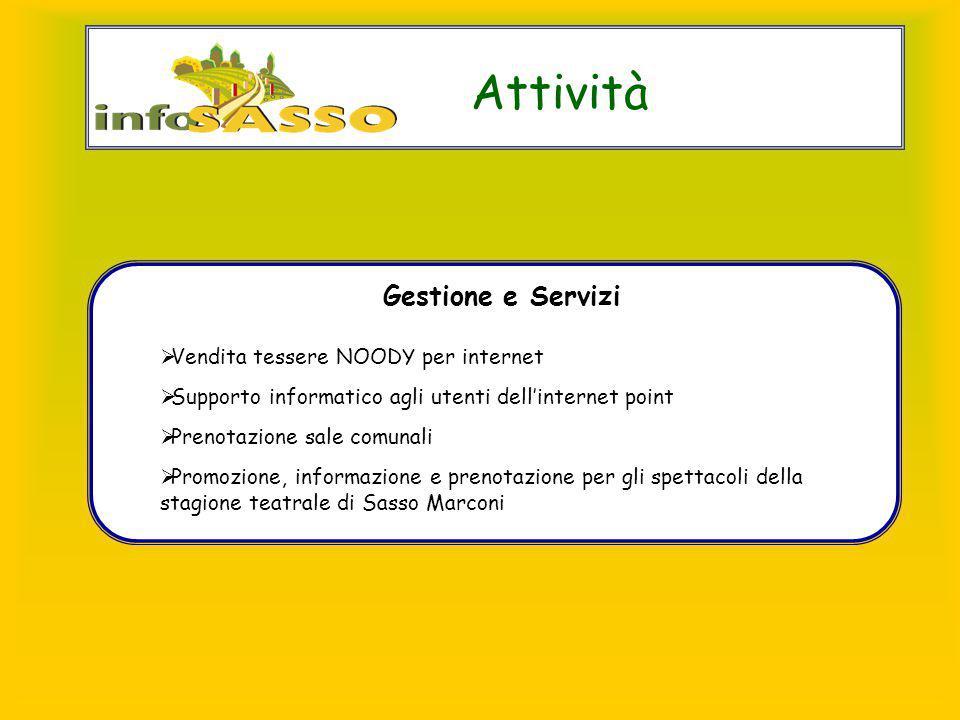 Attività Gestione e Servizi  Vendita tessere NOODY per internet  Supporto informatico agli utenti dell'internet point  Prenotazione sale comunali 