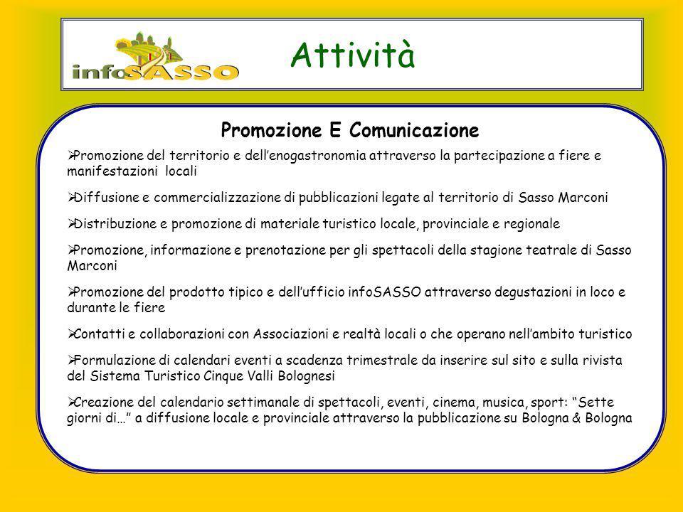 Attività Promozione E Comunicazione  Promozione del territorio e dell'enogastronomia attraverso la partecipazione a fiere e manifestazioni locali  D