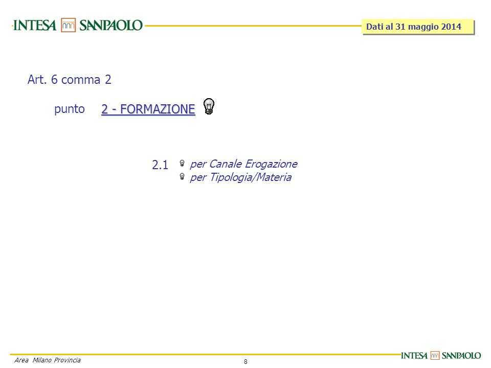 8 Area Milano Provincia per Canale Erogazione per Tipologia/Materia 2 - FORMAZIONE 2.1 Art.