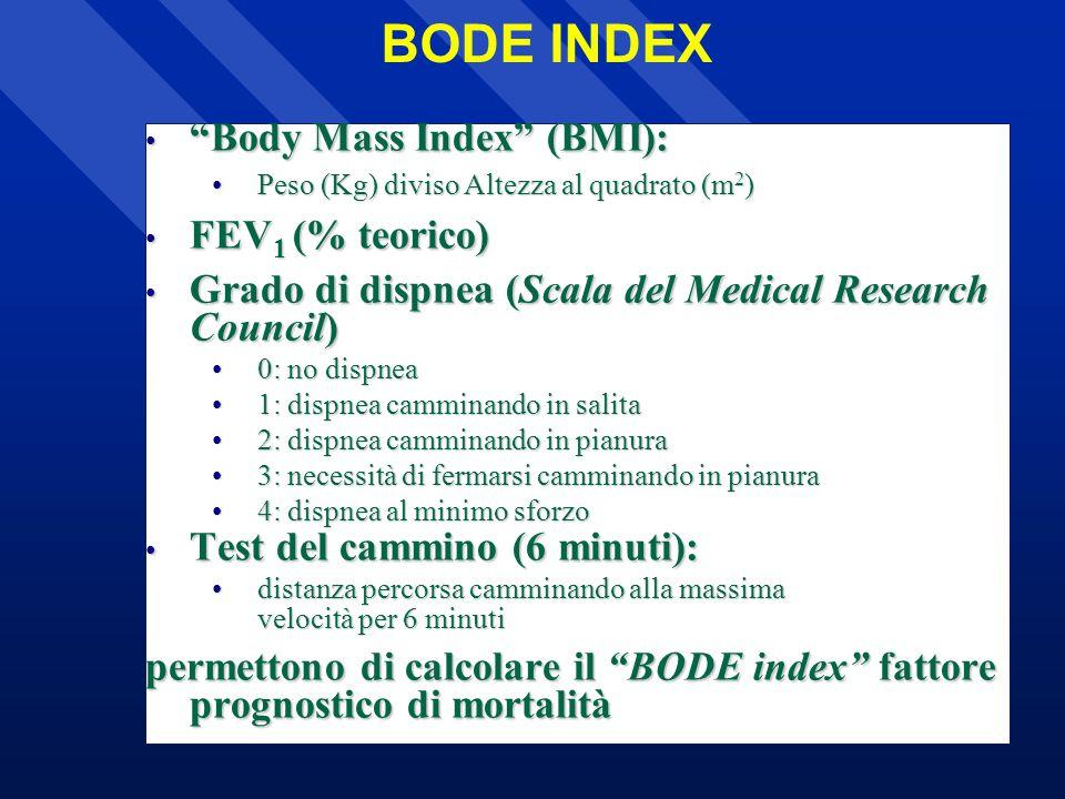 Body Mass Index (BMI): Body Mass Index (BMI): Peso (Kg) diviso Altezza al quadrato (m 2 )Peso (Kg) diviso Altezza al quadrato (m 2 ) FEV 1 (% teorico) FEV 1 (% teorico) Grado di dispnea (Scala del Medical Research Council) Grado di dispnea (Scala del Medical Research Council) 0: no dispnea0: no dispnea 1: dispnea camminando in salita1: dispnea camminando in salita 2: dispnea camminando in pianura2: dispnea camminando in pianura 3: necessità di fermarsi camminando in pianura3: necessità di fermarsi camminando in pianura 4: dispnea al minimo sforzo4: dispnea al minimo sforzo Test del cammino (6 minuti): Test del cammino (6 minuti): distanza percorsa camminando alla massima velocità per 6 minutidistanza percorsa camminando alla massima velocità per 6 minuti permettono di calcolare il BODE index fattore prognostico di mortalità BODE INDEX