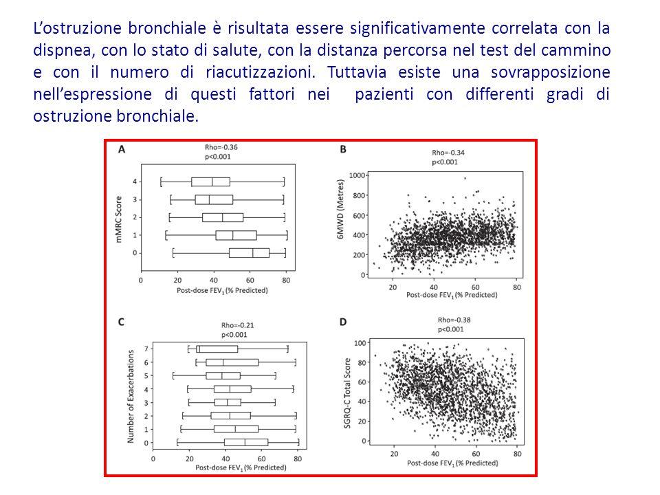 L'ostruzione bronchiale è risultata essere significativamente correlata con la dispnea, con lo stato di salute, con la distanza percorsa nel test del