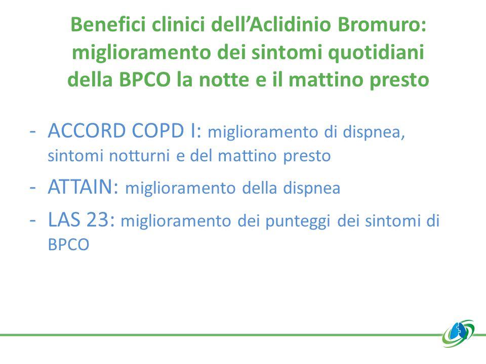 Benefici clinici dell'Aclidinio Bromuro: miglioramento dei sintomi quotidiani della BPCO la notte e il mattino presto -ACCORD COPD I: miglioramento di dispnea, sintomi notturni e del mattino presto -ATTAIN: miglioramento della dispnea -LAS 23: miglioramento dei punteggi dei sintomi di BPCO