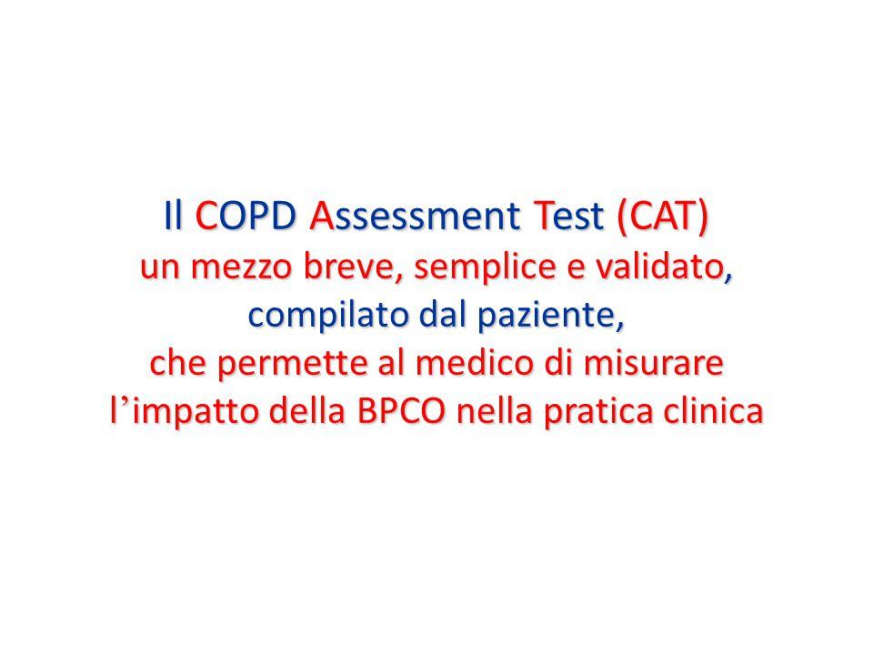 Il COPD Assessment Test (CAT) un mezzo breve, semplice e validato, compilato dal paziente, che permette al medico di misurare l ' impatto della BPCO nella pratica clinica
