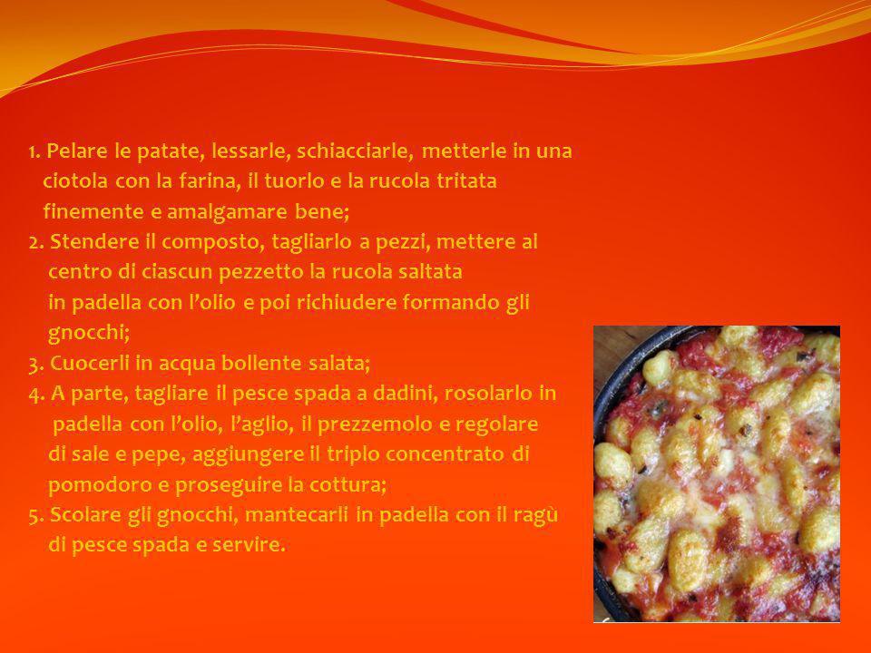 1. Pelare le patate, lessarle, schiacciarle, metterle in una ciotola con la farina, il tuorlo e la rucola tritata finemente e amalgamare bene; 2. Sten