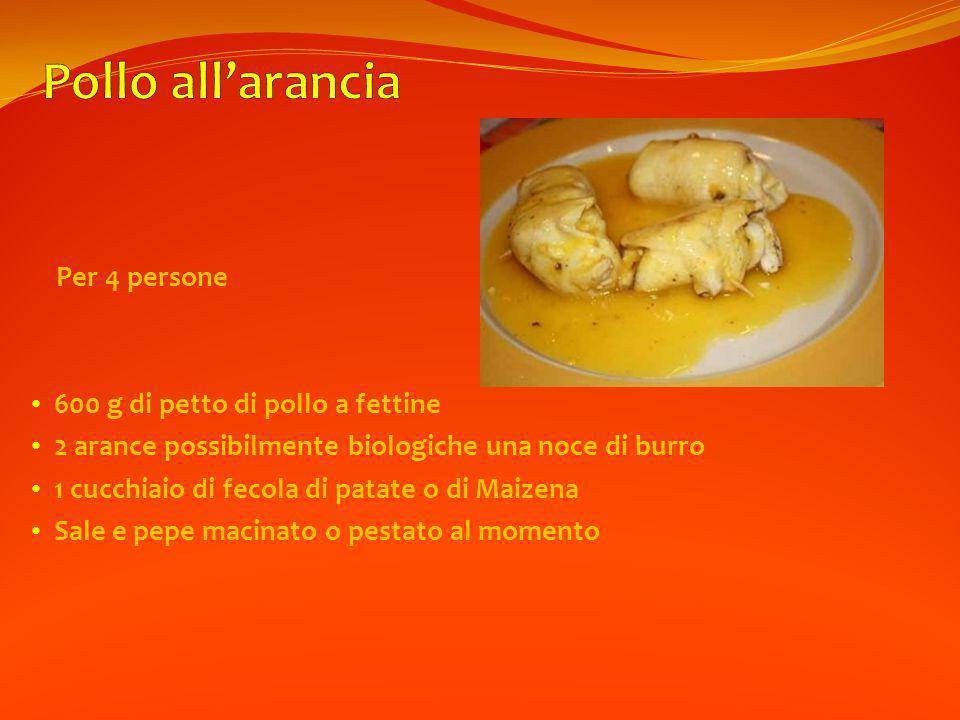 Per 4 persone 600 g di petto di pollo a fettine 2 arance possibilmente biologiche una noce di burro 1 cucchiaio di fecola di patate o di Maizena Sale e pepe macinato o pestato al momento