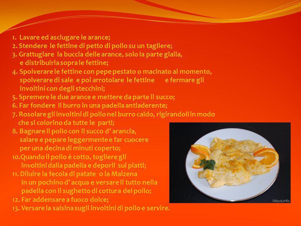 1.Lavare ed asciugare le arance; 2. Stendere le fettine di petto di pollo su un tagliere; 3.