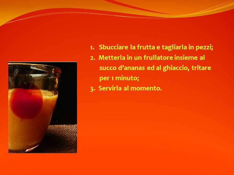 1.Sbucciare la frutta e tagliarla in pezzi; 2.