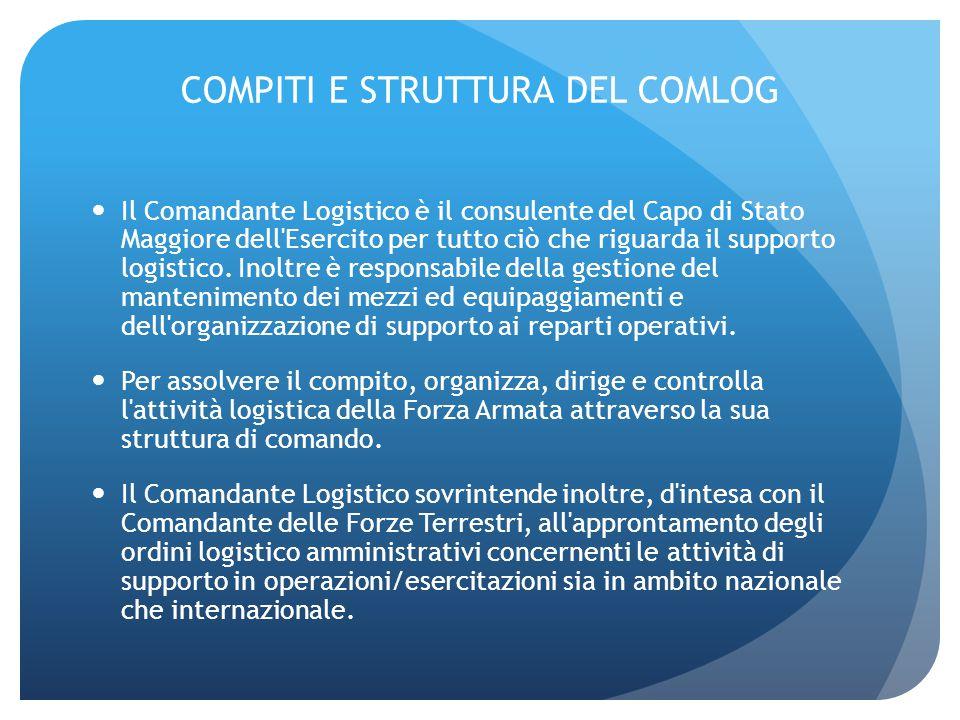 COMPITI E STRUTTURA DEL COMLOG Il Comandante Logistico è il consulente del Capo di Stato Maggiore dell'Esercito per tutto ciò che riguarda il supporto