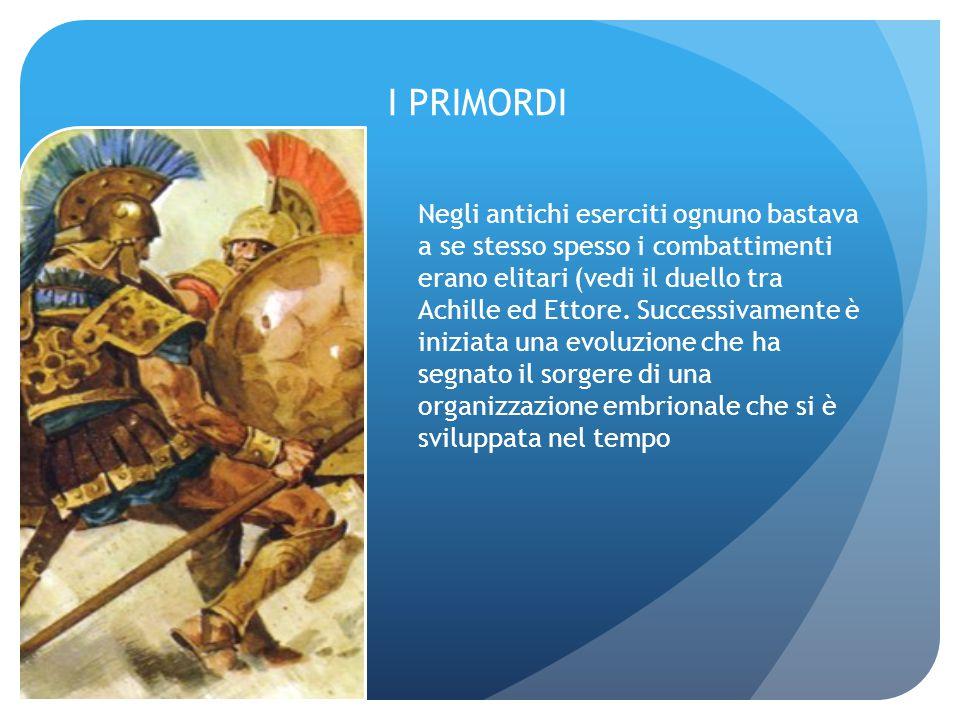 I PRIMORDI Negli antichi eserciti ognuno bastava a se stesso spesso i combattimenti erano elitari (vedi il duello tra Achille ed Ettore. Successivamen