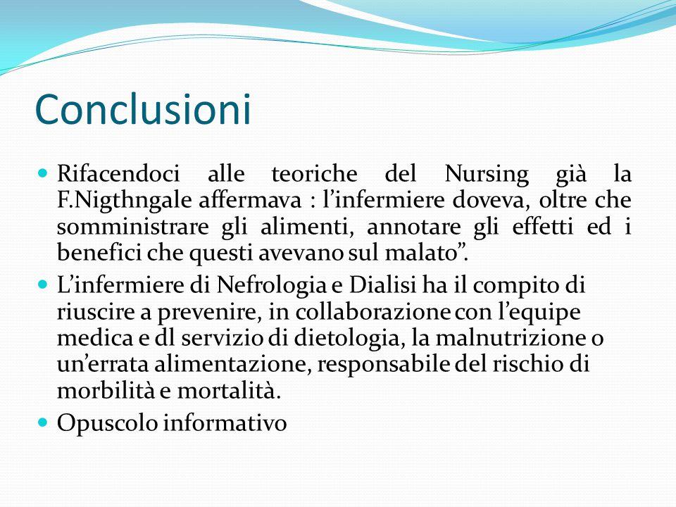 Conclusioni Rifacendoci alle teoriche del Nursing già la F.Nigthngale affermava : l'infermiere doveva, oltre che somministrare gli alimenti, annotare