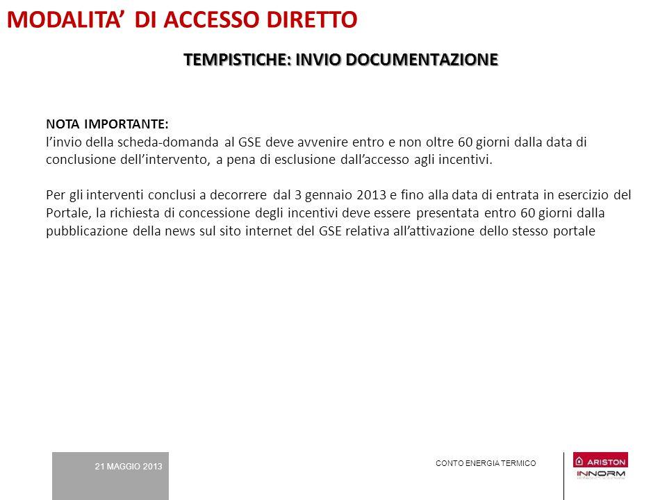 21 MAGGIO 2013 CONTO ENERGIA TERMICO MODALITA' DI ACCESSO DIRETTO NOTA IMPORTANTE: l'invio della scheda-domanda al GSE deve avvenire entro e non oltre
